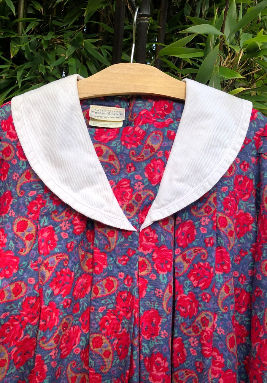 Image of Laura Ashley floral dress with sailor collar. Age 7-9yrs.