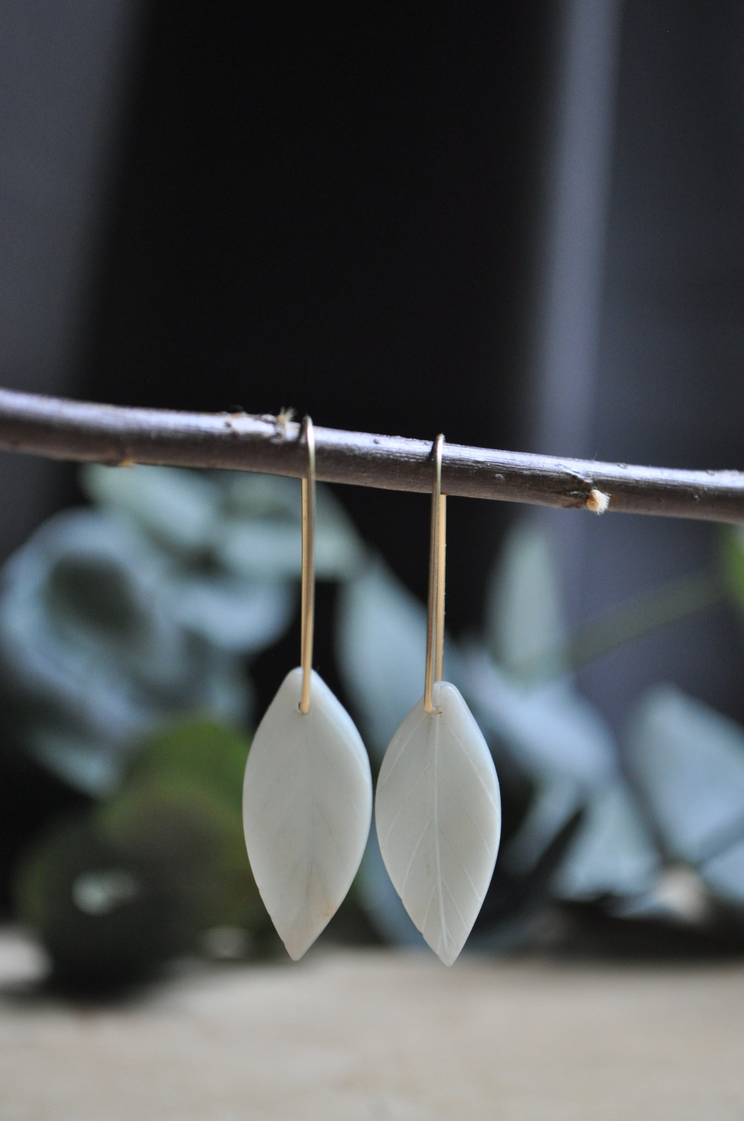 Image of Amazonite Carved Leaf Dangles on Gold Fill