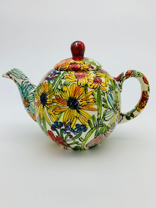 Image of Flowers from the Garden on White Large Teapot