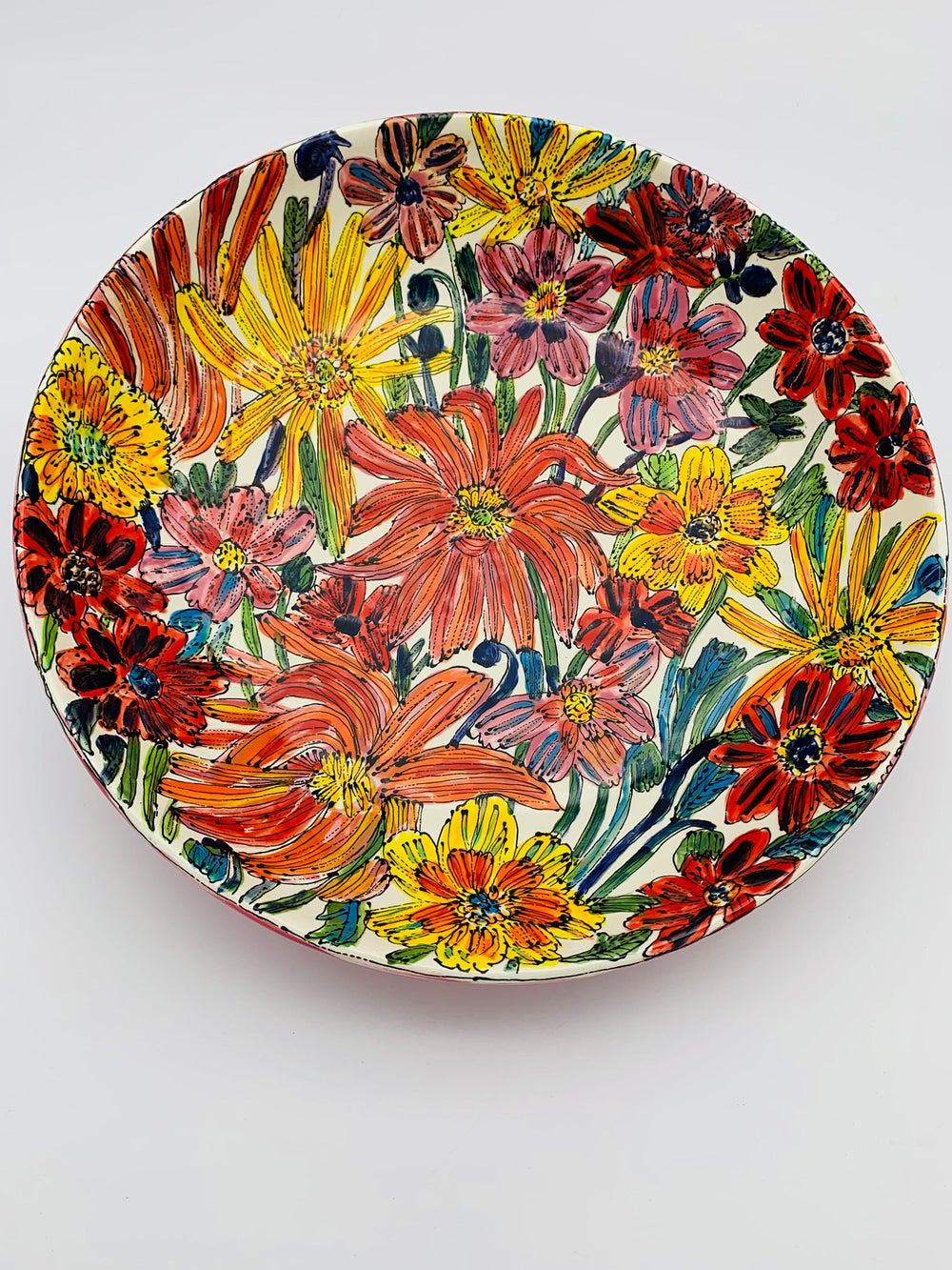 Image of Flowers from Garden with Pink Base Large Pasta Bowl