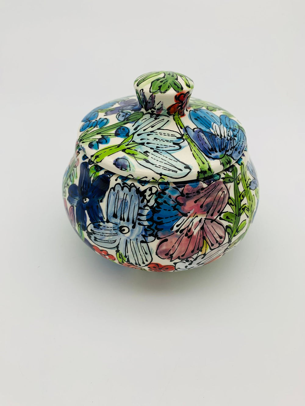Image of Love-in-a-Mist on White Sugar Bowl