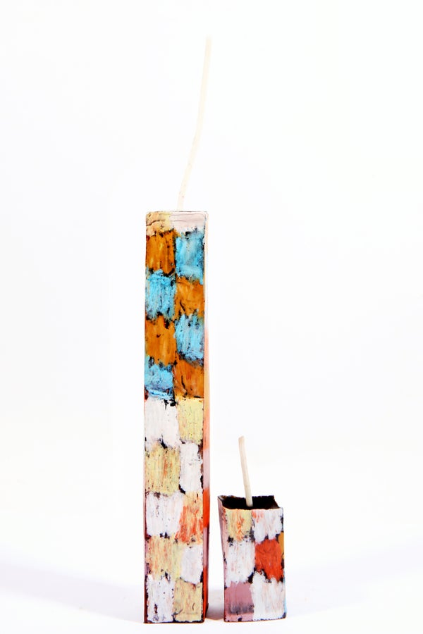 Image of Tower Mother & Child in red, white, baby blue, copper, lilac, aubergine, brown and soft yellow