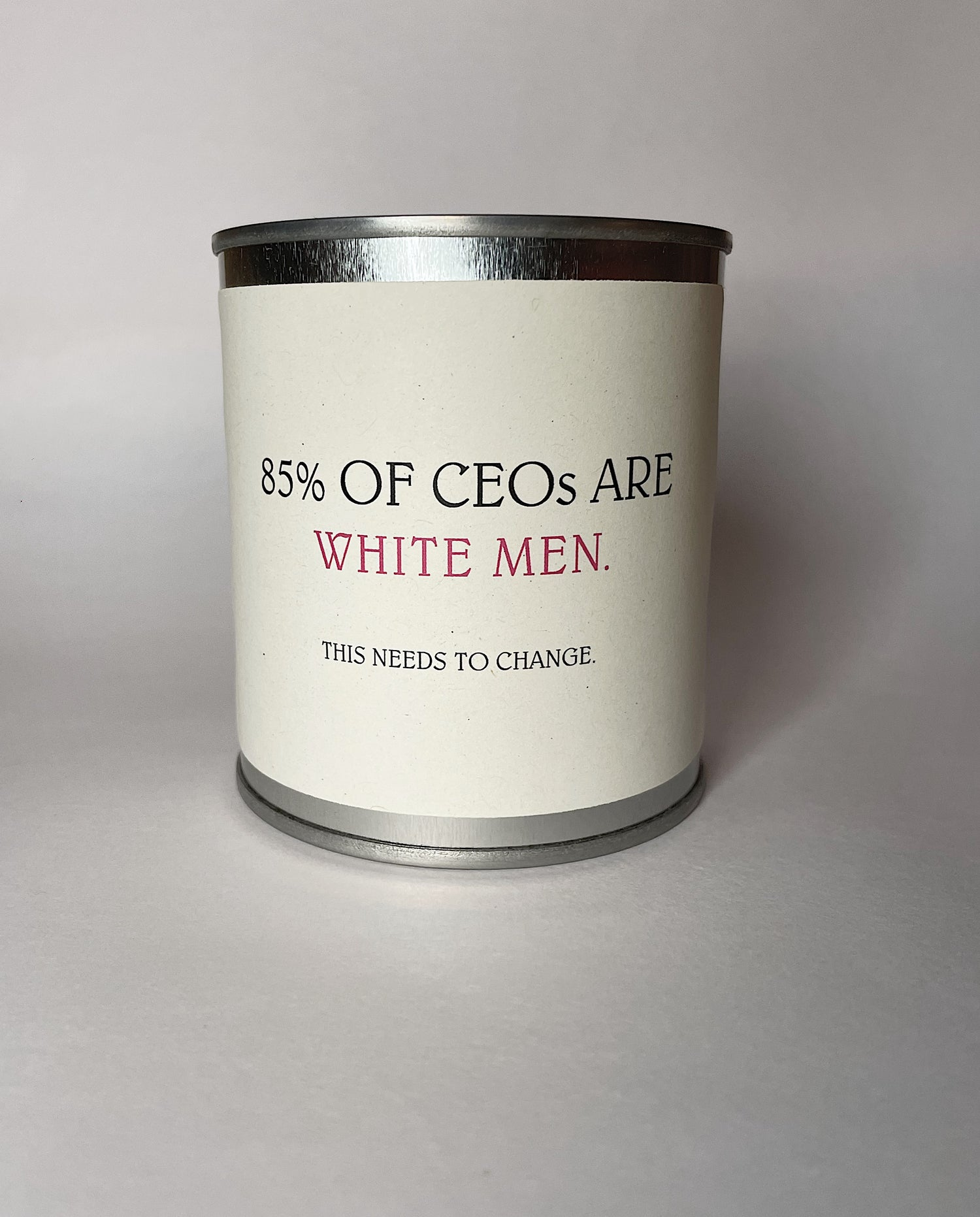 '85% of CEOs are White Men' Candle