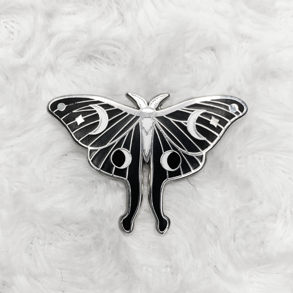 Lunar Moth B+W Enamel Pin