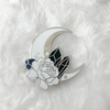 Moon and Crystals B+W Enamel Pin