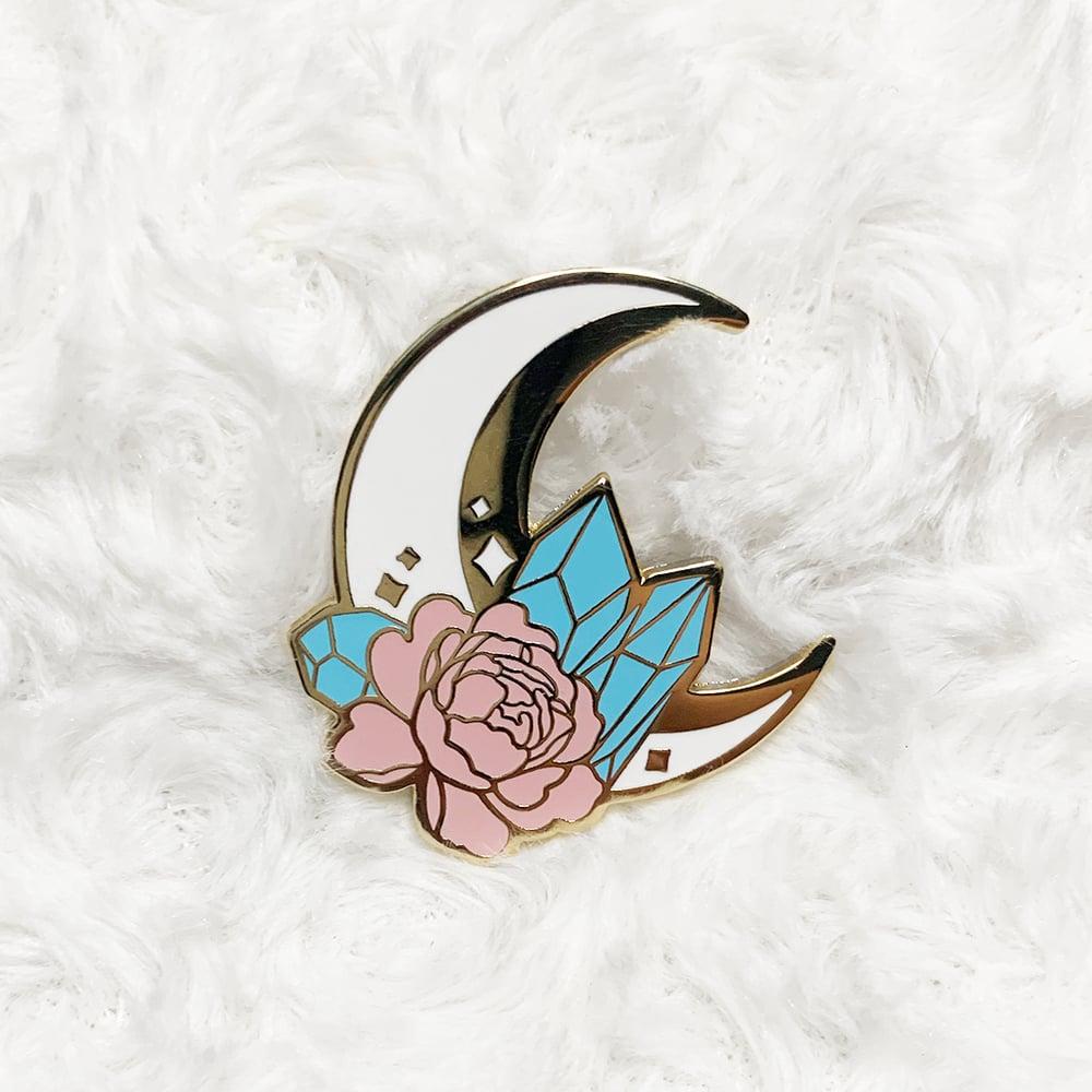 Moon and Crystals Pastel  Enamel Pin