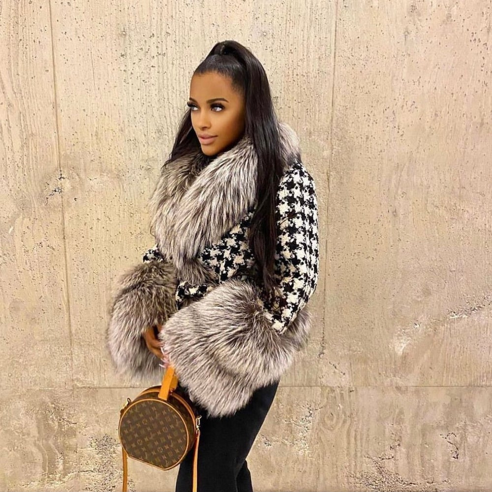 Image of Houndstooth X Fox Fur Peacoat