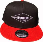 """Image of BROTHERS BOARDS """"ESTABLISHED"""" NEW ERA HAT BLK/ORANGE"""