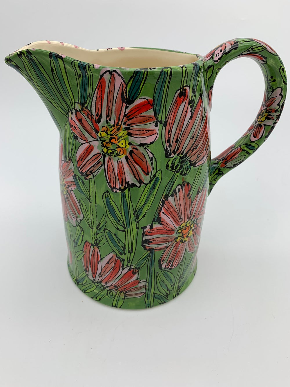 Image of Pink with White Rose Rudbeckia Jug