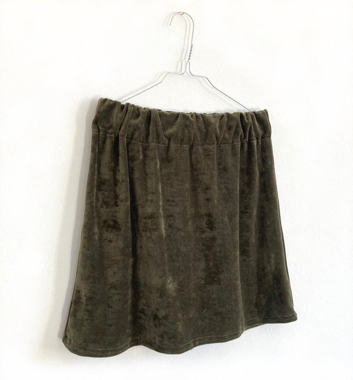 Velvet Mini Skirt-moss green