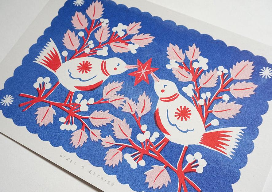 Image of Birds + Berries - Riso Print