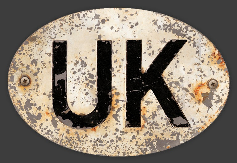 Image of Magnetic UK badge White, Patina'd 180x120mm