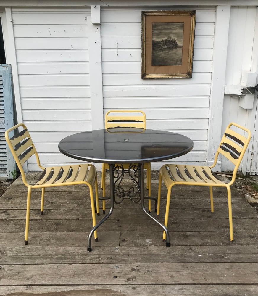 Image of Suite de 4 chaises en fer années 70