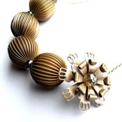 Image of Vintage flower necklace with large brass beads