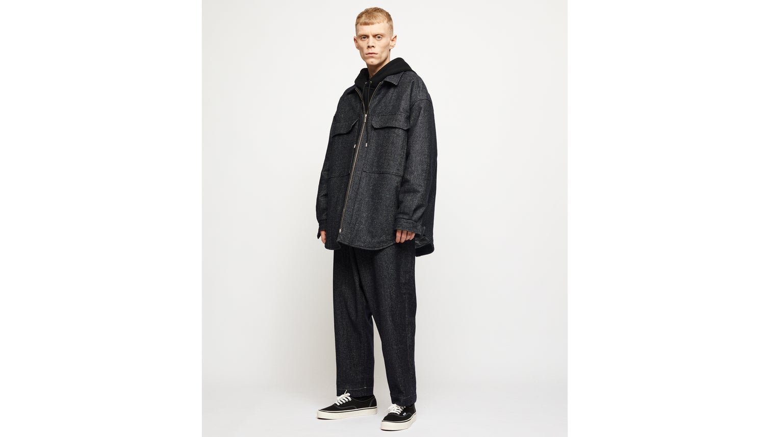 Image of Wool / Denim Quilted Overshirt