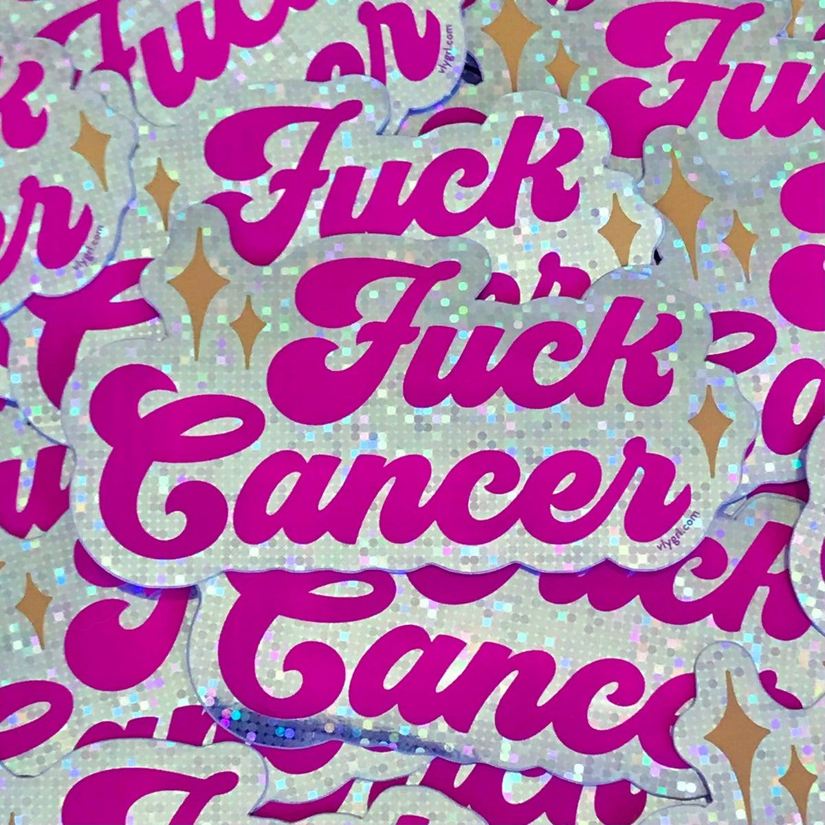 Image of Fuck Cancer Glitter Sticker
