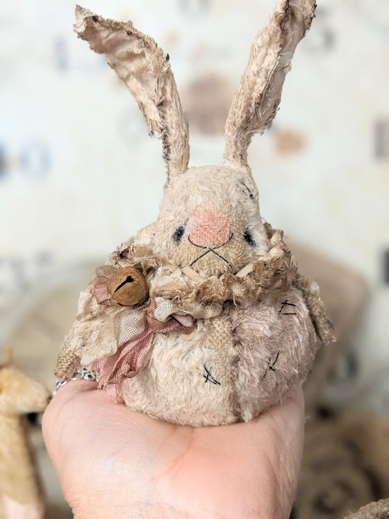 """Image of New Design -3.5""""  SHABBY ROLY-POLY Pink&Cream Rabbit   by Whendi's Bears."""