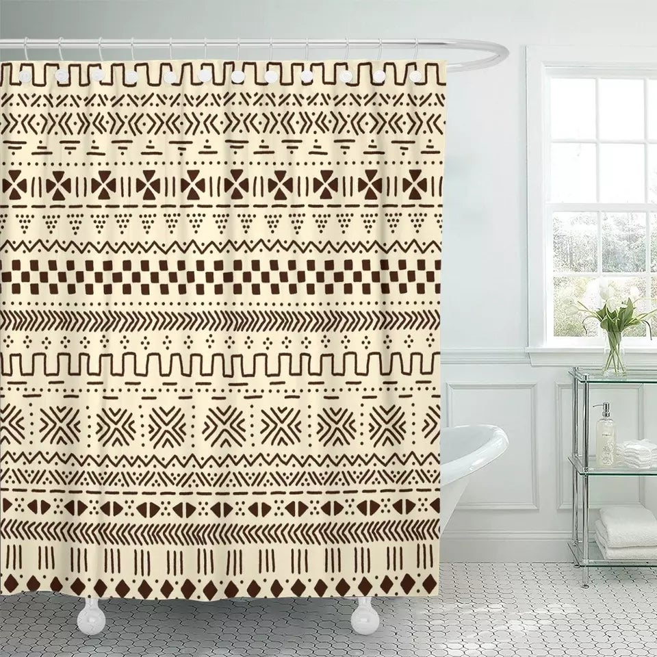 Image of AFRICAN MUDCLOTH SHOWER CURTAIN