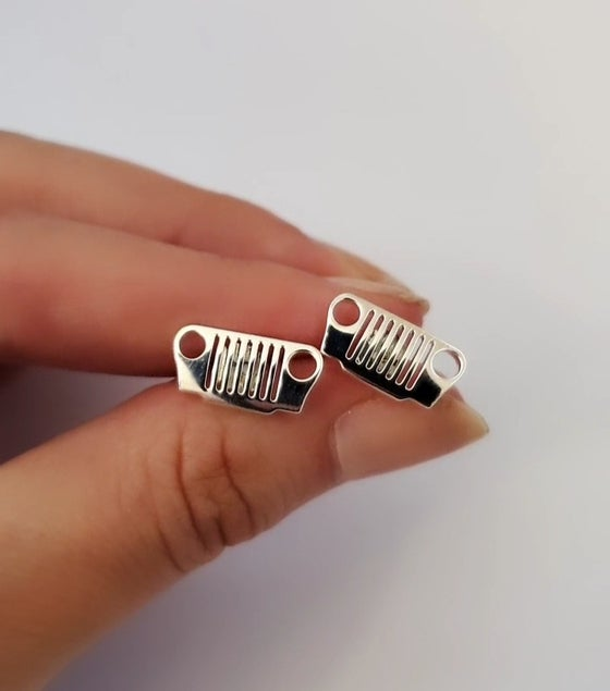 Image of JEEP Grill Sterling Silver Post Earrings