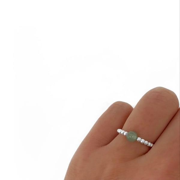 Image of Sterling Silver & Aventurine Gem Ring