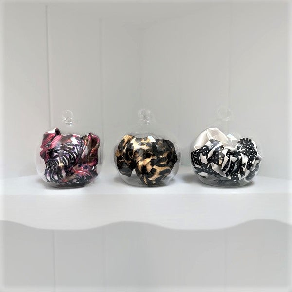 Image of Silk Scrunchie Bow Glass Bauble