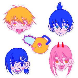 Image of CSM faces sticker pack x5