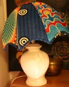 Upcycled lampshade with wax fabric