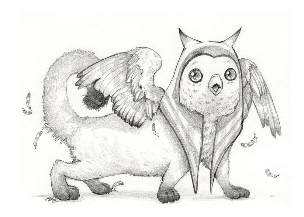 Image of Day 24- Hieracosphinx Drawlloween Print