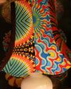 Tall upcycled wax fabric lampshade