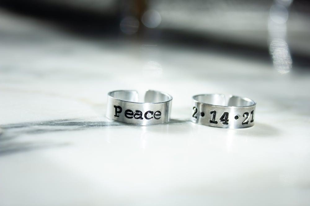 Image of Custom Stamped Ring   Typewriter Font