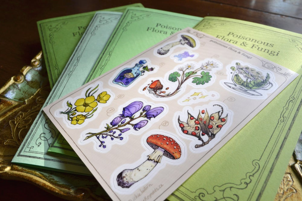 Poisonous Flora & Fungi Sticker Sheet + Info Guide
