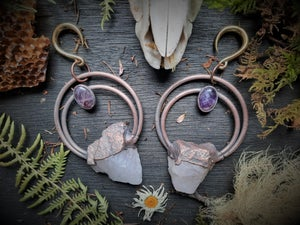 Image of Rose Quartz and Amethyst Ear Weights