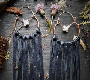 Image of Boa Vertebrae With Leather Fringe Hoops