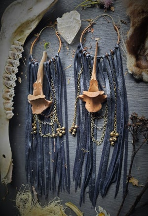 Image of Tea Stained Deer Vertabrae With Chains and Bells Hoops