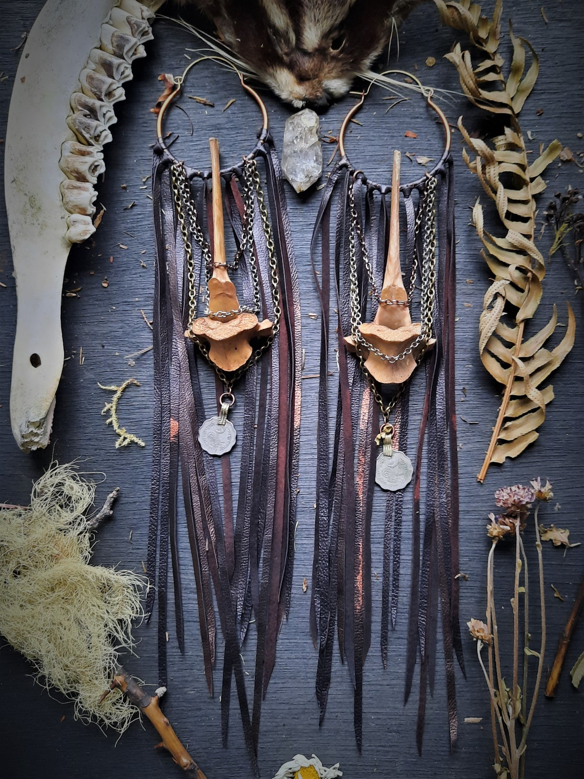 Image of Tea Stained Deer Vertebrae with Leather Fringe and Turkish Coins