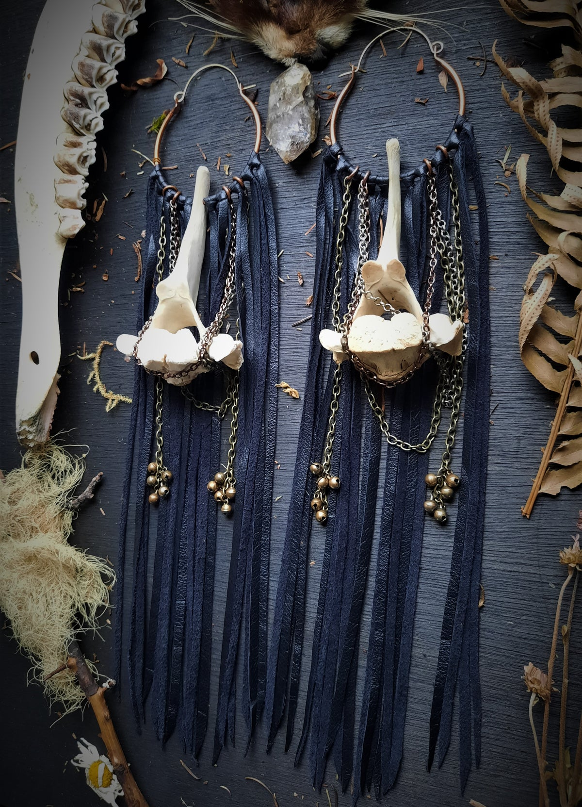 Image of Deer Vertebrae with Chains, Bells, and Leather Fringe Hoops