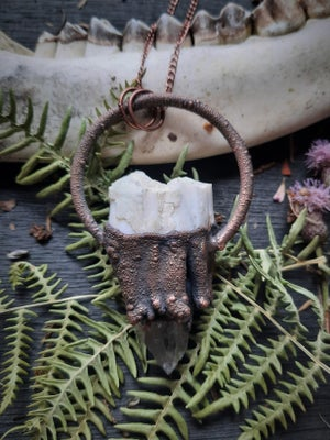 Image of Electroplated Elk Tooth with Quartz Crystal Necklace