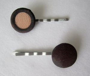 Image of Brown Vintage Button Hairpins