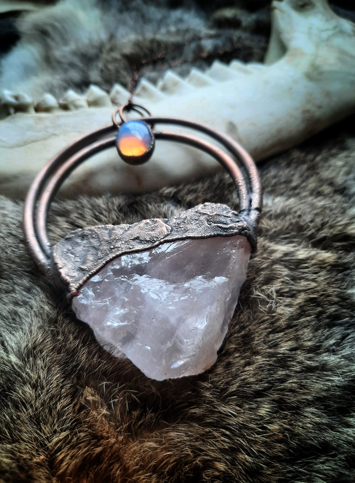 Image of Electroplated Rose Quartz with Opalite Necklace