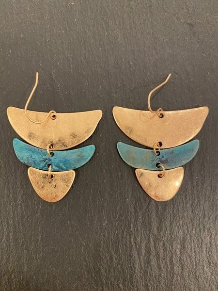 Image of Pendiente 3 piezas geométricas ovaladas