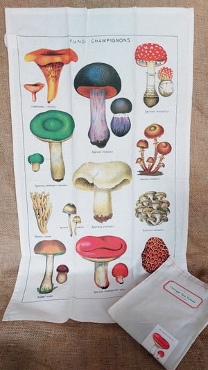 Image of Mushrooms Print Cotton Tea Towel - Cavallini Collection