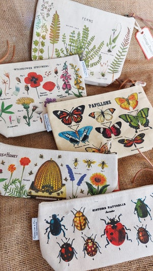 Image of Bees & Honey Print Mini Cotton Pouch - Cavallini Collection