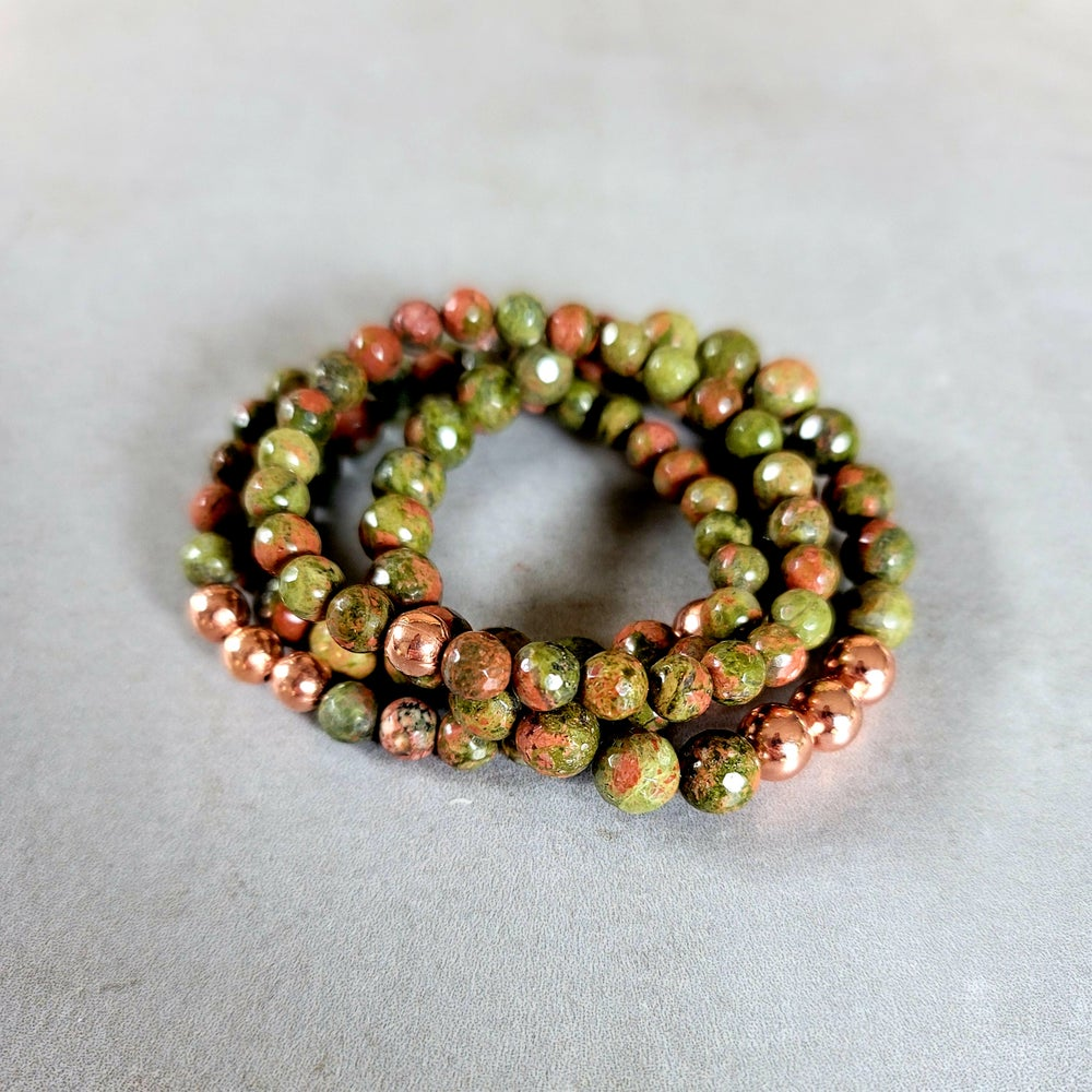 Image of FACETED UNAKITE & COPPER BRACELET - 6mm & 8mm bead sizes