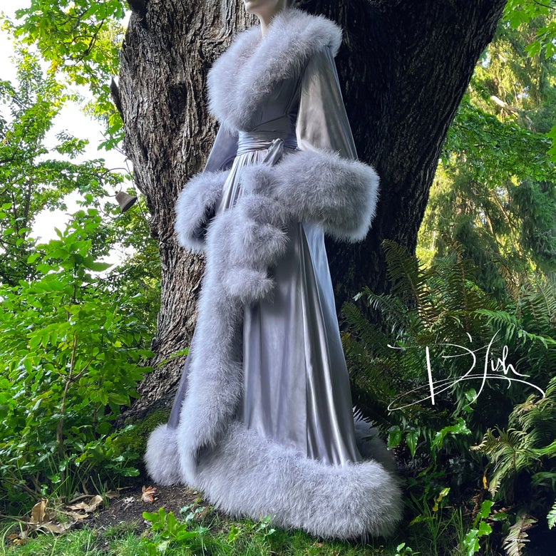 """Image of Dove Grey """"Dominique"""" Dressing Gown"""