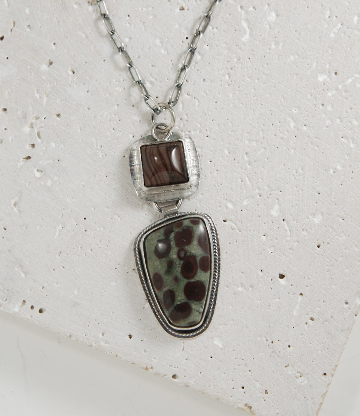 Image of Bristlecone Oolite Cabochon, Stering Silver Necklace, Artisan Made