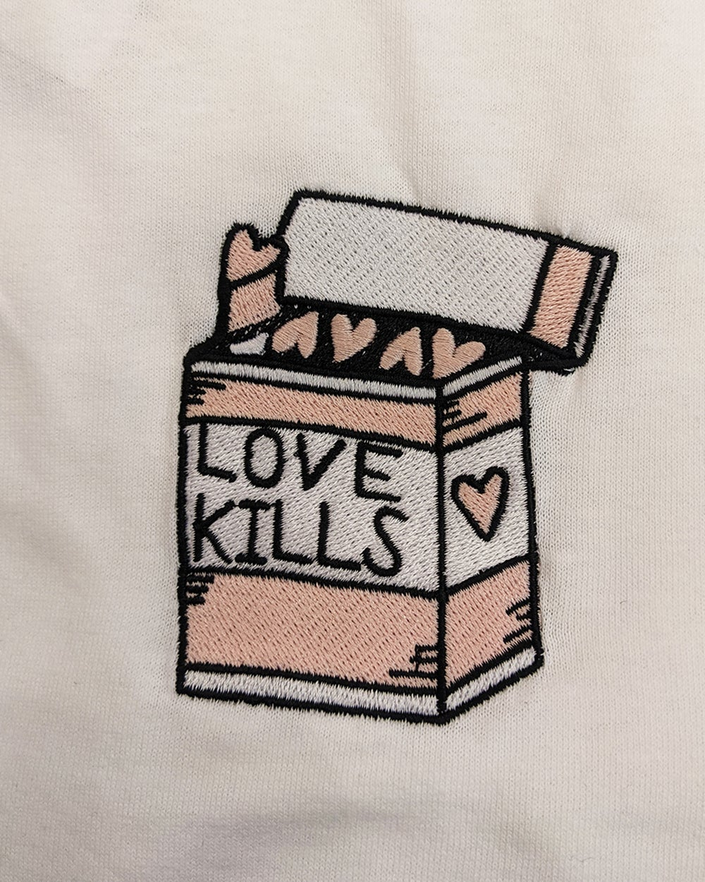 Image of CATCALL 'Love Kills' Embroidered T-Shirt in WHITE