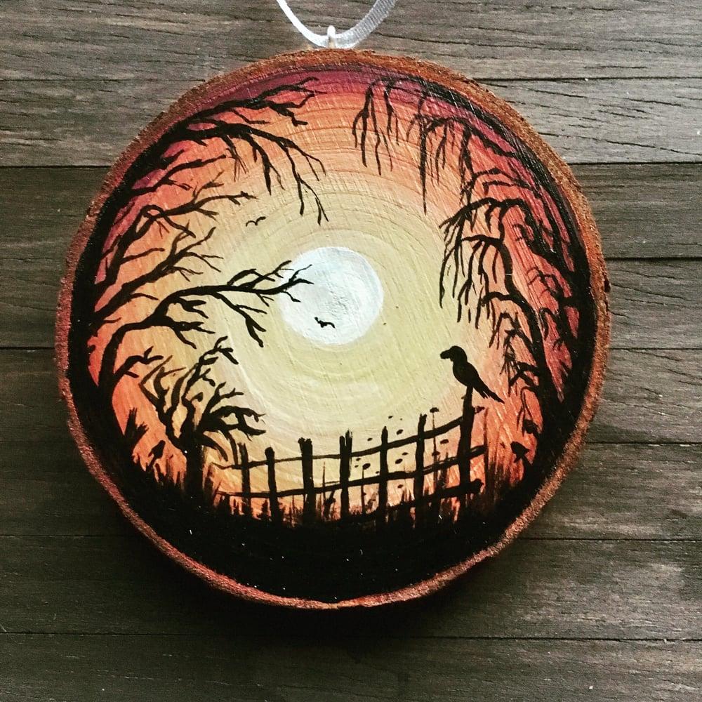 Hand Painted Log Slice in  Acrylic - Orange Sunset Crow on Fence