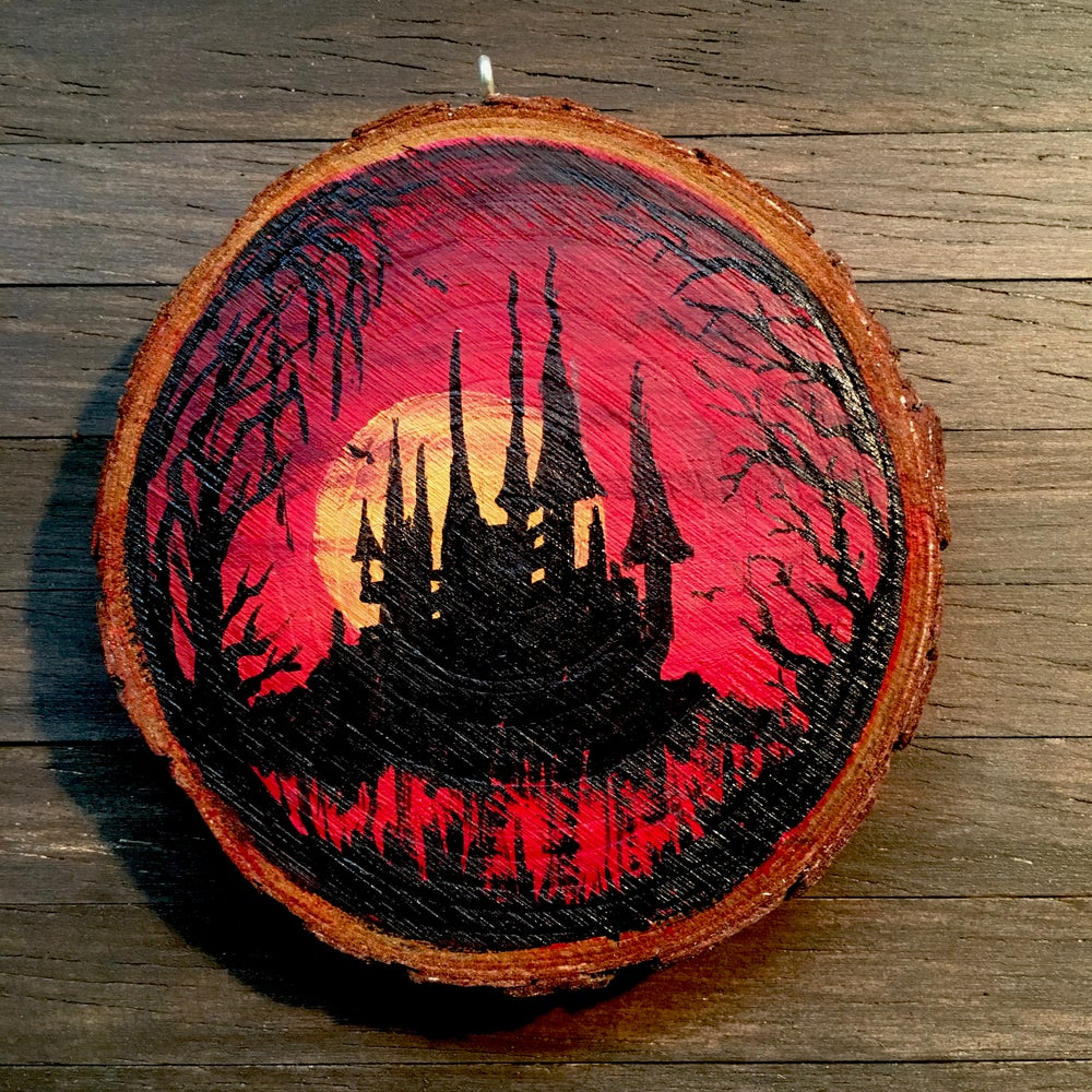 Hand Painted Log Slice in Acrylic - Vampire's Castle at Sunset