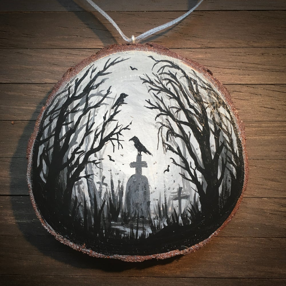 Hand Painted Log Slice in Acrylic - Graveyard in the Woods