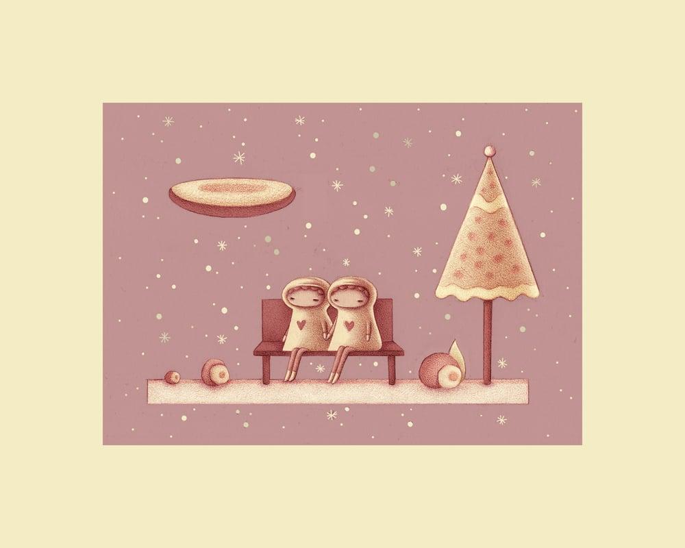 """Snow Couple"" art print"